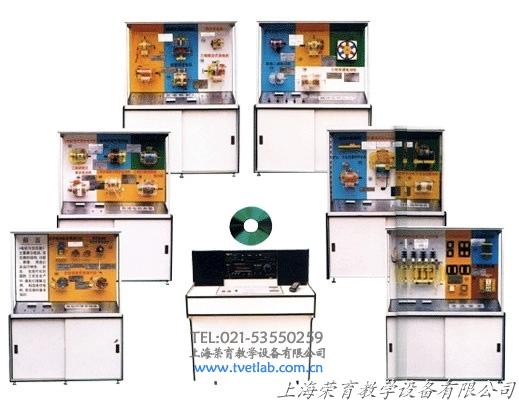 本套陈列柜设备电机模型如下: 1 、异步电动机演示原理: 此模型外壳为透明有机玻璃制作,在装有旋转蹄形磁铁两极间,中间装有一只能够自由旋转的小鼠笼转子,磁铁和转子之间没有任何机械联接,磁铁旋转时,鼠笼就会跟着一起旋转。 2 、异步电动机绕组分布和接线: 本电机外壳采用透明有机玻璃制作,定子三相绕组,在空间互差 120 0 ,通入三相交流电,它就能产生两极旋转磁场,从而实现电能向机械能的转换,其定子绕组的联接方法有两种:星形和三角形,两种接法可随意切换使用。 3 、三相异步电动机的绕组分类: 定子绕组是由许