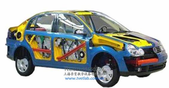 汽车整车解剖模型系列(可选各种车型) (一)汽车解剖模型产品简介 多功能解剖车选用桑塔纳2000为基础,可容易地看见发动机舱、车身侧围的构造结构、钢板的厚度及独立悬挂的结构,甚至车轮的轮毂及轮胎的横截面。此外,车内方向盘、排挡杆、手刹、安全带固定装置及安全带卷等平时都被包裹严实的部件也被特别地一剖为二,内部工艺精度、构造清晰呈现,能够展示汽车各总成装置以及各附件位置。  (二)结构组成 桑塔纳2000轿车总成、电动机及附件等;配置教学资料,适用于汽车专业考核和培训。 (三)功能特点 1.主要总成剖示并以各