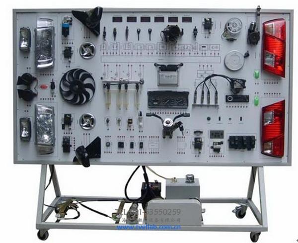 结构组成 (三)桑塔纳2000型全车电器实训台功能特点