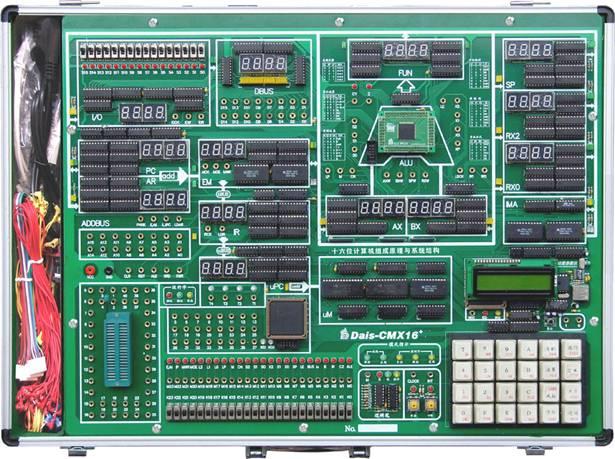 卓越的软硬件环境 实时部件显示:各部件单元都以计算机结构模型布局,清晰明了,各部件均有七段数码管显示其十六进制内容。两个数据流方向指示灯以直观反映当前数据的来源与目标去向。即使不借助PC机也可实时观察数据流状态,判断其正确性,提供一目了然的实验环境。 开放式设计:系统支持三种实验电路构造方式,即实验单元电路的硬布线连接方式、单元电路的控位连接方式和实验电路软连线方式。对于实验单元电路的硬布线连接方式,可采用双头实验导线从零开始在扩展区域逐一搭起一个实验电路;对于各单元电路的控位连接,只需使用双头实验导线